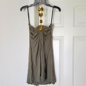 Beaded neck mini halter dress